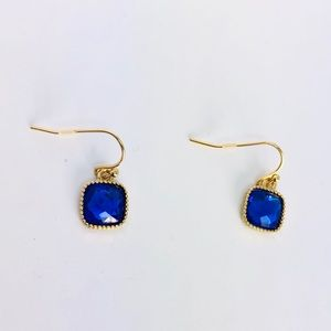 New! Royal Blue Square Crystal Dangle Earrings